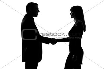 one couple man and woman handshake silhouette