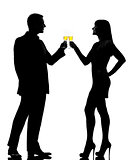 one couple man and woman drinking champagne partying toasting si