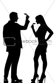 one couple man and woman drinking tasting red wine silhouette