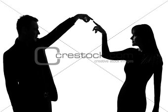 one couple man and woman expressing communication gesture concep