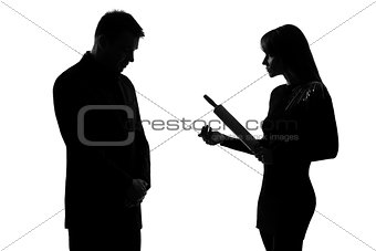 one couple man and woman domestic violence silhouette