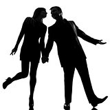 one lovers couple man and woman walking hand in hand silhouette