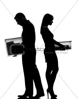 one couple man and woman divorce  separation silhouette