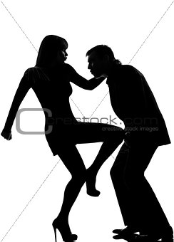 one couple man and woman self defense  violence silhouette