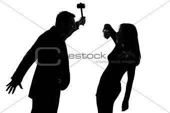 one couple man holding hammer and woman domestic violence silhou
