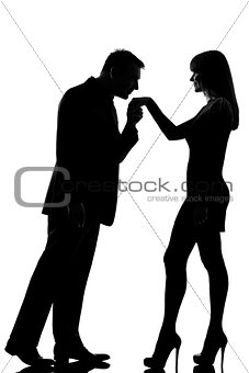one couple man kissing hand woman   silhouette