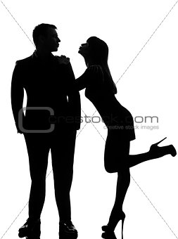 one couple lovers  woman wanting to kiss the man silhouette