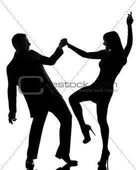 one couple man and woman dancing rock silhouette