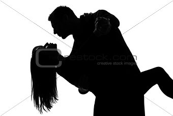 one couple lovers man and woman dancing tango silhouette