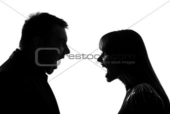 one couple man and woman screaming shouting dipute silhouette
