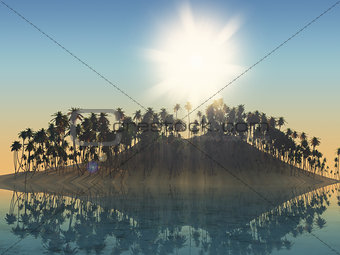 3D palm tree island with sunny sky