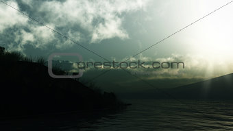 3D landscape of mountains and lake