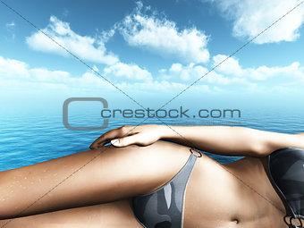 3D female in bikini on sunny beach