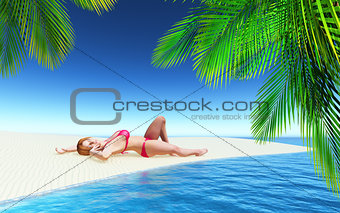 3D female sunbathing on a tropical beach