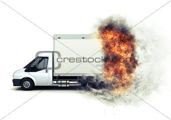 3D flat bed van with fiery speed effect