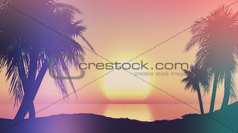 3D sunset landscape with retro effect