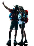 couple trekker trekking nature silhouette selfie