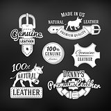 Set of leather quality goods vector designs. Vintage belt logo, retro labels. genuine illustration on dark background