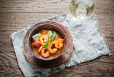 Spicy french soup with seafood