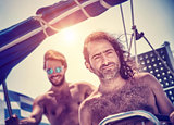 Two men on sailboat