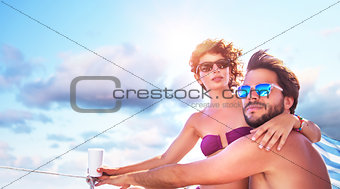 Active couple on the sailboat