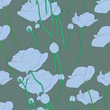 poppies blue pattern