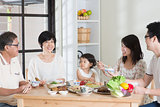 Asian Chinese family dining