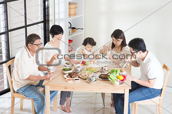 Asian Chinese family dinner