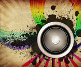 Vintage musical background with speaker