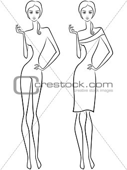 Abstract slender women two outlines