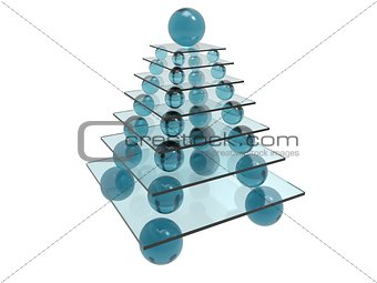 abstract three-dimensional pyramide in blue