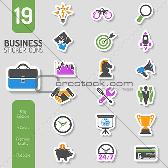 Business Strategy Icon Sticker Set