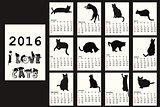 2016 Calendar with black cats