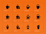 Coffee cup icons on orange background.