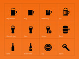 Bottle and glass of beer icons on orange background.