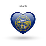 Love Nebraska state symbol. Heart flag icon.