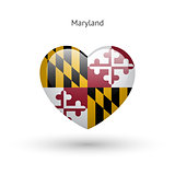 Love Maryland state symbol. Heart flag icon.