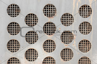 Abstract Metal Grid Circles Background