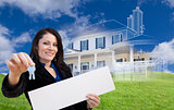 Woman Holding Keys, Blank Sign with Ghosted House Drawing Behind
