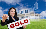 Woman Holding Keys, Sold Sign with Ghosted House Drawing Behind