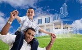 Hispanic Father and Son with Ghosted House Drawing Behind