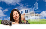 Thumbs Up Hispanic Woman with Ghosted House Drawing Behind