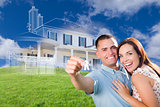 Military Couple Holding House Keys with Ghosted House Drawing Be