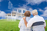 Senior Couple Faces Ghosted House Drawing, Green Grass Hill Behi