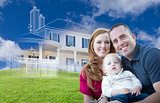 Young Military Family with Ghosted House Drawing Behind