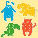 Cat, rabbit, elephant and parrot