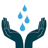 Blue water drops in human hands