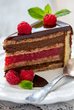Piece of cake with raspberry jelly.