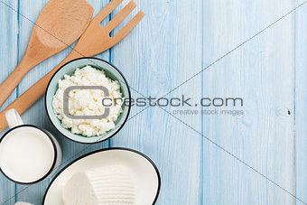 Dairy products. Milk, cheese, curd cheese and butter