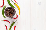 Colorful chili peppers and peppercorn